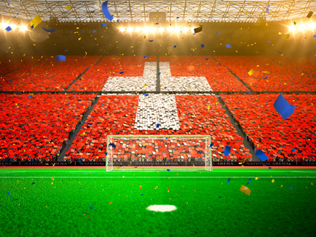 Flag Switzerland of fans. Evening stadium arena soccer field championship win. Confetti and tinsel
