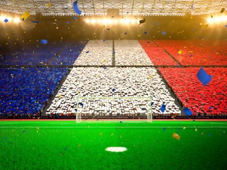 팬의 국기입니다. 저녁 경기장 경기장 축구 필드 선수권 대회 우승. 색종이와 반짝이
