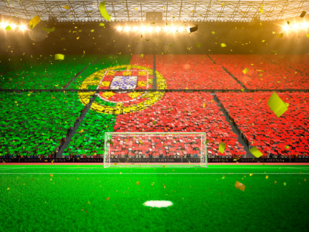 fan: Flag Portugal of fans. Evening stadium arena soccer field championship win. Confetti and tinsel
