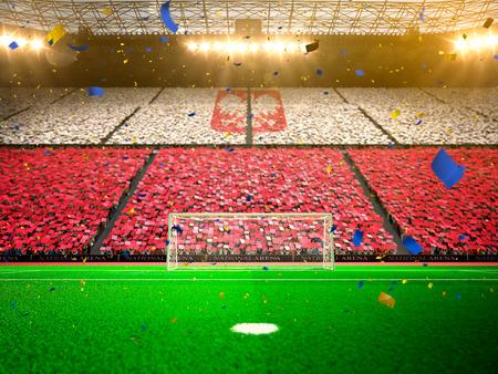Flaga Polska fanów. Wieczór stadion piłkarski areny mistrzostw pola wygrana. Konfetti i blichtr