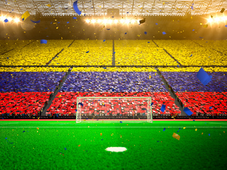 Flag  of fans. Evening stadium arena soccer field championship win. Confetti and tinsel