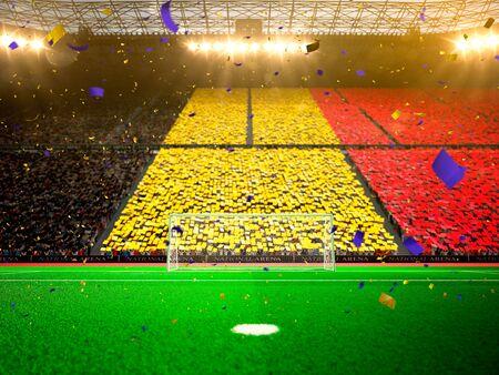 belgium: Flag Belgium of fans. Evening stadium arena soccer field championship win. Confetti and tinsel