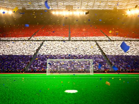 championships: Flag Netherlands of fans. Evening stadium arena soccer field championship win. Confetti and tinsel