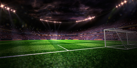 Night stadium arena soccer field gate inside yellow toning
