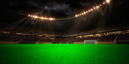 soccer field: Night stadium arena soccer field championship win. Confetti and tinsel Stock Photo
