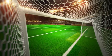 Night stadium arena soccer field championship win. Confetti and tinsel 写真素材