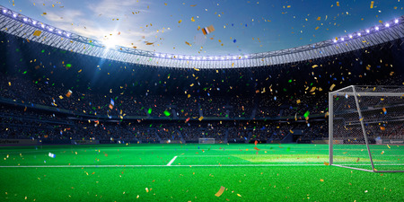 football fans: Night stadium arena soccer field championship win. Confetti and tinsel Stock Photo