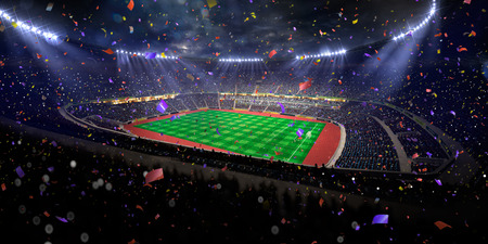 fans: Night stadium arena soccer field championship win. Confetti and tinsel Stock Photo
