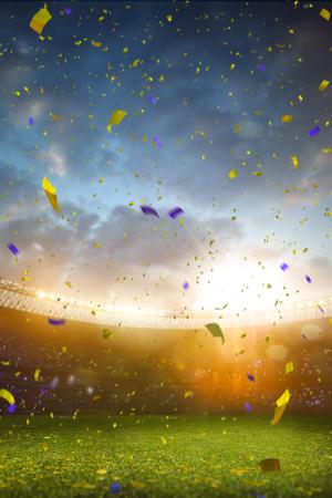 Evening stadium arena soccer field championship win. Confetti and tinsel . Yellow toning Standard-Bild