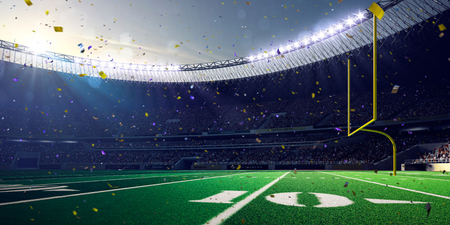 Football Arena Stadium Day championship win. Confetti and tinsel Stock fotó