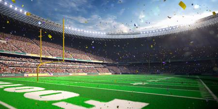 spectator: Football Arena Stadium Day championship win. Confetti and tinsel Stock Photo