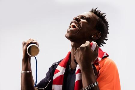 soccer fan: black Soccer fan in action emotions isolated