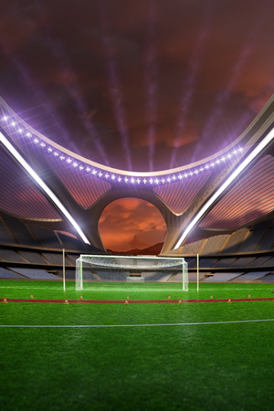 3d render emptry hi-tech stadium evening without people jump track  clody