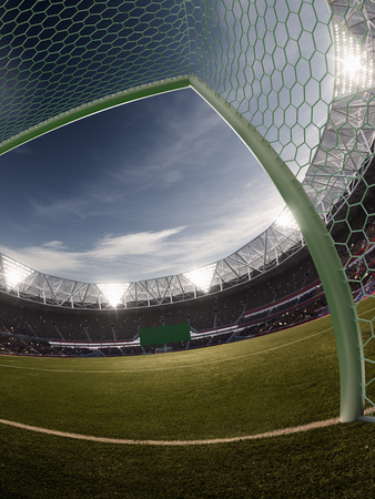 Evening stadium arena soccer field  background 3D illustration