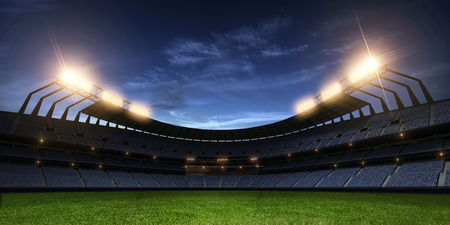 Stadium night light without people 3d render