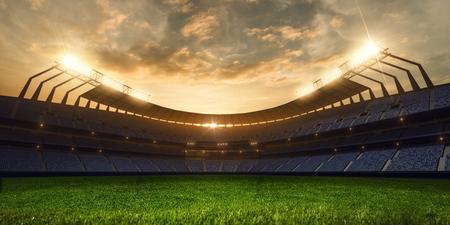 3D rendern emptry Stadionabend ohne Leute Standard-Bild