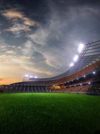 puesta de sol del estadio con fanáticos de la gente. 3d render ilustración cielo nublado