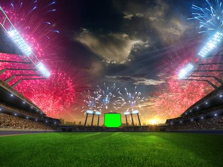 puesta del sol del estadio con fanáticos de la gente y fuegos artificiales. 3d render ilustración cielo nublado