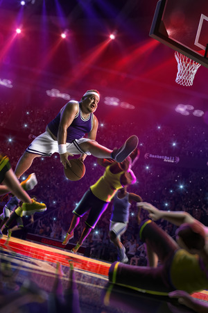 Fat Basketball non professional player in action, court and enemy 3d render colour