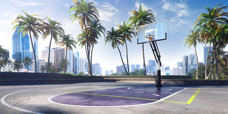 Street basketball court 3D illustration Stock Illustration - 109818666