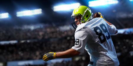 American football sportsman player on stadium in action. Sport advertising 版權商用圖片 - 110461050