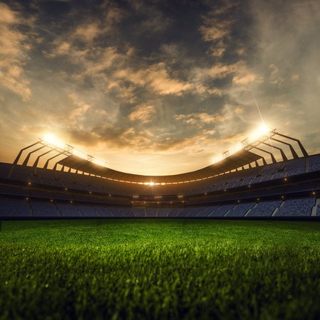 3d render emptry stadium evening without people Standard-Bild