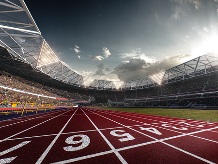 Evening stadium arena soccer field defocus background 3D illustration