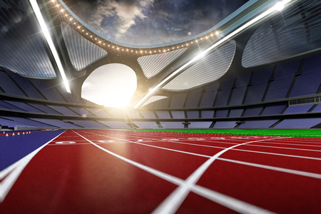 3d render emptry hi-tech stadium evening without people running track blue sky
