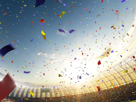 Stadium day Confetti and tinsel with people fans. 3d render illustration blue sky