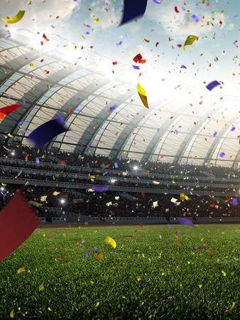 Día del estadio Confeti y oropel con ventiladores de personas. Ilustración de render 3d