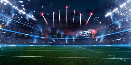 Empty American fotball field. celebrate win or touchdown. focus in grass. little unfocus in background