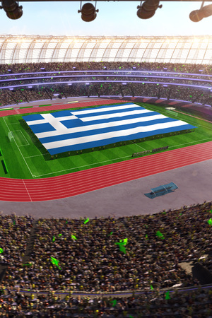 people hold Greece flag in stadium arena. field 3d photorealistic render illustration