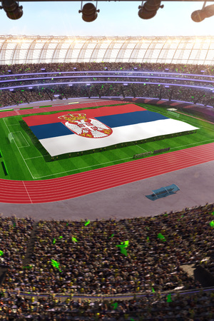 people hold Serbia flag in stadium arena. field 3d photorealistic render illustration