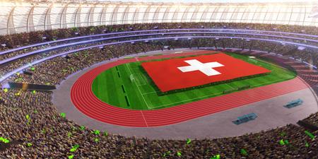 people hold Switzerland flag in stadium arena. field 3d photorealistic render illustration