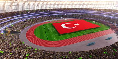 people hold Turkey flag in stadium arena. field 3d photorealistic render illustration Stock Photo