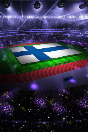 people hold Finland flag in stadium arena. field 3d photorealistic render illustration