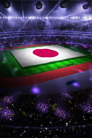 people hold Japan flag in stadium arena. field 3d photorealistic render illustration