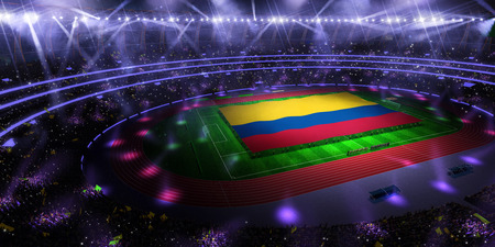 people hold Colombia flag in stadium arena. field 3d photorealistic render illustration