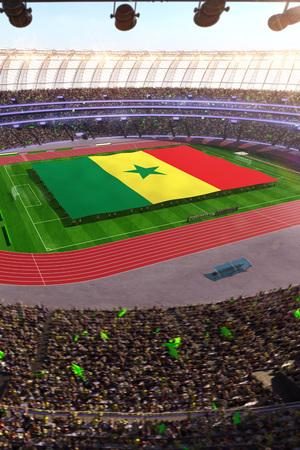 people hold Senegal flag in stadium arena. field 3d photorealistic render illustration