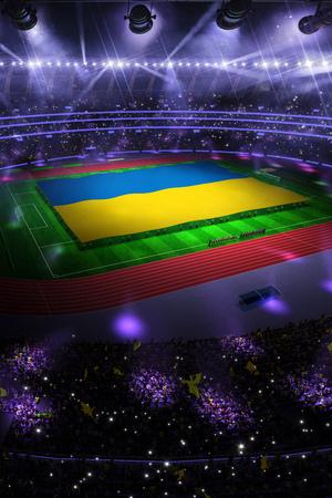people hold Ukraine flag in stadium arena. field 3d photorealistic render illustration