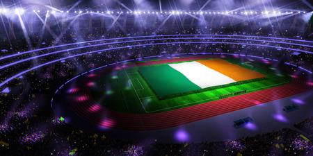 people hold Ireland flag in stadium arena. field 3d photorealistic render illustration