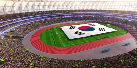 people hold Korea flag in stadium arena. field 3d photorealistic render illustration Stock Photo