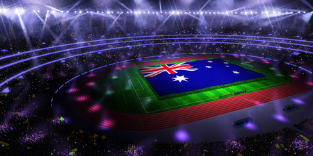 people hold Australia flag in stadium arena. field 3d photorealistic render illustration