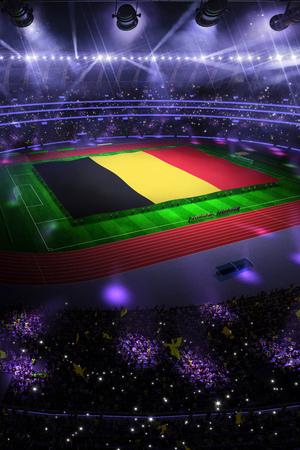 people hold Belgium flag in stadium arena. field 3d photorealistic render illustration