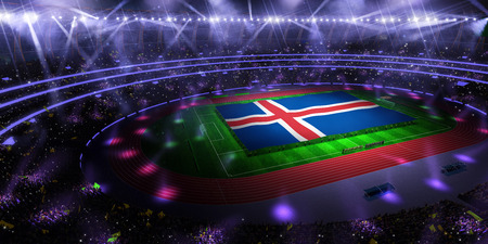 people hold Iceland flag in stadium arena. field 3d photorealistic render illustration Stok Fotoğraf