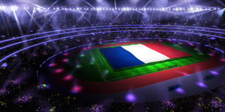 people hold France flag in stadium arena. field 3d photorealistic render illustration Stock Photo