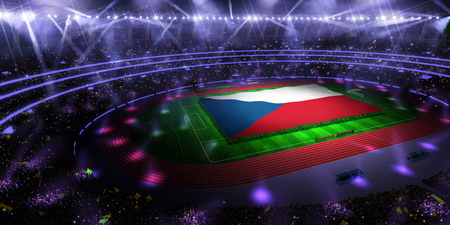 people hold Czech Republic flag in stadium arena. field 3d photorealistic render illustration