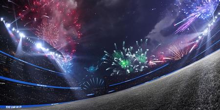 Estadio vacío de noche. Celebre la victoria con fuegos artificiales. Alrededor de foco luminoso iluminado. Atmósfera de nubes dramáticas. Foto de archivo