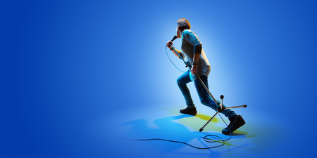 Rock star celebrity blue background isolated
