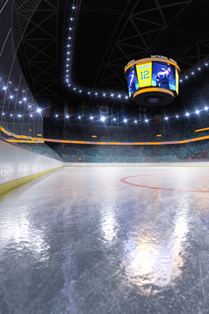 Hockey-Eisbahn-Sportarena leeres Feld